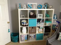 Baby Landons Nursery, Our nursery is finally complete! The color schemes we chose we were white/gray/turquoise&teal for babys room w/ stripe...