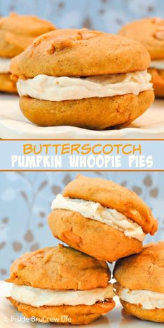Butterscotch Pumpkin Whoopie Pies - a salted caramel frosting makes these sweet homemade pumpkin cookies taste incredible. Great recipe to make for fall parties. Köstliche Desserts, Delicious Desserts, Dessert Recipes, Yummy Food, Pie Recipes, Recipies, Pumpkin Recipes, Fall Recipes, Holiday Recipes