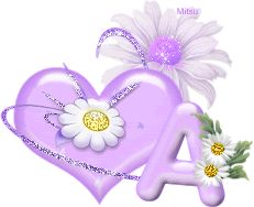 Purple heart with flowers A