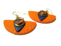 Orange Earrings with Purple accents Polymer Clay Brass Washers Unique