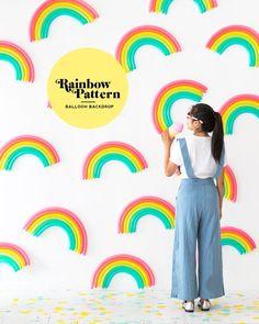 DIY Rainbow Pattern Balloon Backdrop