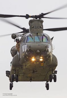A MK 4 Chinook helicopter takes off from RAF Odiham during a testing exercise.