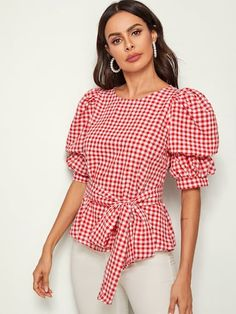 Shein Puff Sleeve Gingham Print Self Belted Top Fashion 2020, Fashion News, Fashion Outfits, Blouse Styles, Blouse Designs, Simple Dresses, Cute Tops, Types Of Sleeves, Corporate Wear