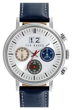Ted Baker London 'Sport' Chronograph Leather Strap Watch, 40mm available at #Nordstrom