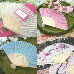 Silk Hand Fans    Float down the aisle accompanied by a cool refreshing breeze with these lovely silk wedding fans. Perfect for your spring or summer wedding when every bride knows temperatures can go from sunny and mild to blazing and humid in the blink of an eye. These stylish wedding fans are available in white, pink, blue and cherry blossom print pattern for that Asian or oriental element.  http://www.wedowed.com/wedding-fans.html