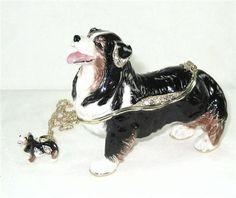Australian Shepherd Dog Jeweled Trinket Box w Pendant - Treasure Journeys