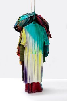 """antronaut: """" Katharina Grosse - Untitled """"acrylic on aluminium pole, clothes and rope 200 x 67 x 55 cm """" """" Fashion Installation, Installation Art, Fast Fashion, Fashion Art, Fashion Design, What Is Contemporary Art, Collage Techniques, Textiles, Textile Fiber Art"""