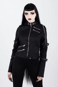 7c8c85545f The stunning gothic black fitted Roz jacket from Killstar features faux  leather buckle straps on the sleeves, zip detailing, and a detachable chain  on the ...