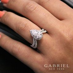 Gabriel NY - Voted Most Preferred Fine Jewelry and Bridal Brand. White Gold Pear Shape Halo Engagement Ring - May 04 2019 at Pear Shaped Engagement Rings, Engagement Ring Shapes, Vintage Engagement Rings, Affordable Engagement Rings, Pear Shaped Rings, Diamond Wedding Rings, Bridal Rings, Diamond Engagement Rings, Diamond Rings