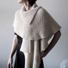 Yarn | 6 (100gm skein)XMisti Alpaca Chunky Solids | Colour: White  Pattern | #13 Ruffled Edge Wrap by Lisa Daehlin  Handknit by CityPurl  Such an elegant piece …