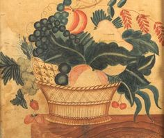 A Theorem: A Basket of Fruit on Top of a Marble Table. Unsigned. Watercolor on paper, 16 x 18 in., in a period frame. Condition: Laid down, repairs, toning.