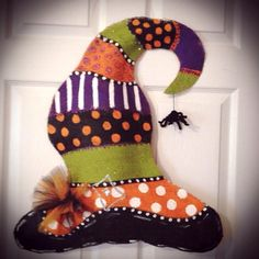 Halloween Burlap witch Hat by SimplyShabbyByBella on Etsy, $25.00