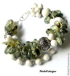 """Браслет """"Soma Bay"""" Серебро 925 (Гранат зеленый,Агат) - зелёный,браслет из камней"""