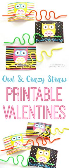 """Whoo's Crazy About You?"" Crazy Straw + Owl Valentines - cute printable cards for a non-candy and sugar-free Valentine's Day treat! Happiness is Homemade"
