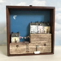 Dusk Little vintage engineering draw #driftwood #driftwoodart #shabbychic #shabbydaisies #nautical #seaside #sea #sun #beach #summer #boats #box#engineersdraw#moon#stars#dusk#vintage