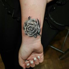 realistic black and grey rose tattoos