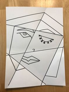 Cubist Picasso Portrait lesson using folded paper - great for getting kids' crea. - Cubist Picasso Portrait lesson using folded paper – great for getting kids' creative juices flo - Kunst Picasso, Art Picasso, Pablo Picasso, Picasso Kids, Picasso Paintings, Portraits Cubistes, Cubist Portraits, Arte Elemental, 4th Grade Art