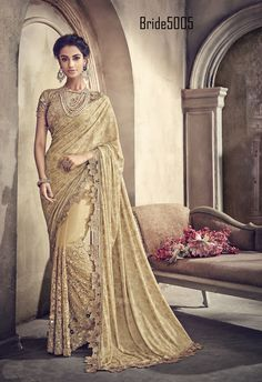Update your wardrobe with this stylish and modern Saree with lycra pallu and net fabric body. Tone to tone Moti, Zari, Stone and thread work in all over saree. Saree comes with matching blouse. Indian Wedding Sari, Saree Wedding, Indian Bridal, Bridal Sarees, Bollywood Designer Sarees, Designer Sarees Online, Bollywood Style, Traditional Sarees, Traditional Outfits