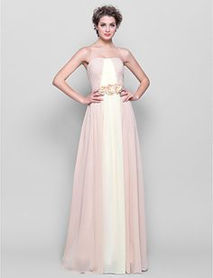 A-line Strapless Floor-length Chiffon Bridesmaid Dress (2174365) - USD $ 109.99