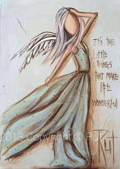 IT'S the little things that make lie wonderful. Angel Artwork, Angel Paintings, Angel Drawing, Angels Among Us, Angel Pictures, Guardian Angels, Painting & Drawing, Amazing Art, Folk Art
