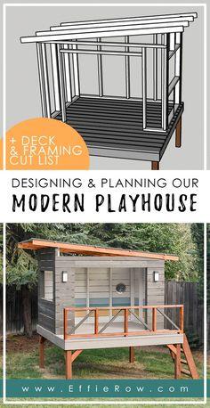 Modern Playhouse, Backyard Playhouse, Backyard Playground, Backyard For Kids, Backyard Projects, Backyard Patio, Backyard Play Areas, Kids Playhouse Plans, Garden Playhouse