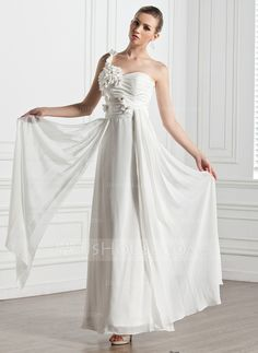 Wedding Dresses - $129.99 - A-Line/Princess Sweetheart One-Shoulder Ankle-Length Chiffon Wedding Dress With Ruffle Flower(s) (002005272) http://jjshouse.com/A-Line-Princess-Sweetheart-One-Shoulder-Ankle-Length-Chiffon-Wedding-Dress-With-Ruffle-Flower-S-002005272-g5272