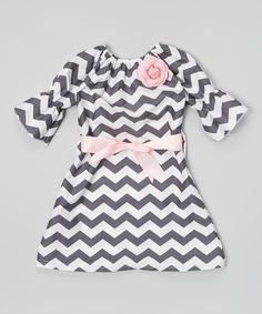 Gray Zigzag Bell-Sleeve Dress - Toddler & Girls