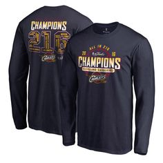 Cleveland Cavaliers 2016 NBA Finals Champions Roster Long Sleeve T-Shirt - Navy - $26.99