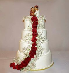 Classic wedding cake with bride and groom gumpaste cake topper