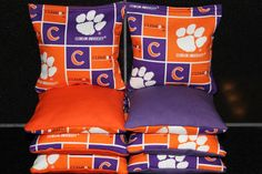 Corn Hole Bags CLEMSON University Tigers 8 Aca by lots2ofr2, $22.99