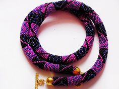 Pink Beaded Crochet Rope Necklace Pink Purple Black by bddcrochet #nice #fashion #accessories