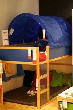 Big Boy Room from Ikea! I love this children's loft and blue star canopy! Nice low bed for when we surrender the crib. Ikea Bunk Bed, Bunk Beds, Kids Bedroom, Bedroom Ideas, Kid Rooms, Boy Room, Big Boys, Kids Crafts, Gabriel