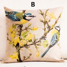 Flower Bird throw pillow pastoral style couch cushions