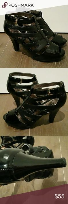 Sofft Black Patent Leather Cage Heels Sofft Black Patent + Leather Cage Heels.  Glam metallic gold kidskin leather interior lining.  Sz 6.5M  Excellent condition, excepting some marks on the heels for which I've included a closeup pic. The marks are not noticeable when wearing (I didn't even know they were there until I took pics up close).   If you've never owned a pair of Sofft heels, lemme tell ya: they are incredibly comfortable snd have amazing arch support. The small platform sole…