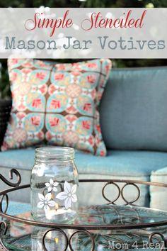 Stenciled Mason Jar Votives, mom4real.com