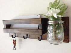 Rustic mail organizer key rack with mason jar, wall mail sorter and key holder, mail holder, entryway organizer, mason jar vase: