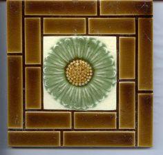 Art Nouveau original period Majolica tile FLOWER & BRICKS