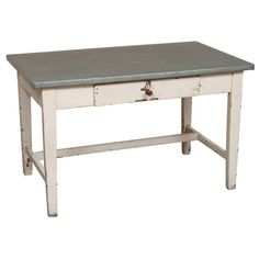 Zinc-Topped Writing Table | From a unique collection of antique and modern desks and writing tables at https://www.1stdibs.com/furniture/tables/desks-writing-tables/