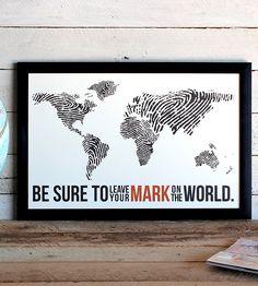 """Fingerprint World Map Print   This original 11"""" x 17"""" graphic print features fingerprint con...   Posters"""