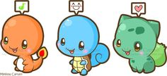 Stylized starter Pokémon fan art: Charmander, Squirtle, and Bulbasaur.