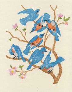 """MARISSA BUSCHOW, Where do my bluebirds fly, a limited edition 9-color woodblock print, 8"""" x 10""""."""