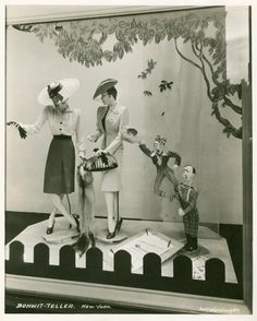 Bonwit Teller store window, New York, 1940s- the picket top would loog good with my spring window