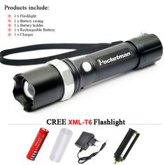 USA FT17 XM-L T6 3800LM Tactical cree led Torch Zoomable cree LED Flashlight Torch light for AAA or 1xRechargeable 18650 Battery