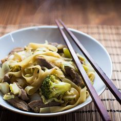 Spicy noodles with beef, pork and broccoli.