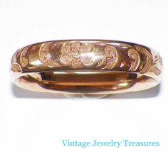 Antique Victorian Gold Filled Hinged Ornate Floral 12mm Bangle Bracelet W B Co