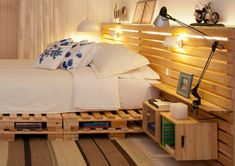 There are a lot of 28 Recycled Pallet bed frame designs in our collection. Wood pallet bed frame with lights or storage is the best design ever to try Pallet Bedframe, Wood Pallet Beds, Diy Pallet Bed, Diy Pallet Furniture, Pallet Ideas, Wood Pallets, Bed Frame Design, Diy Bed Frame, Bed Design