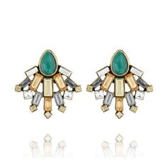 Crystal Fan Statement Stud Earrings - the company story is inspiring and I know Tiffany (the seller nearest to me)