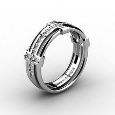 Mens Modern 14K White Gold Diamond Wedding Band от DavidKDesigns
