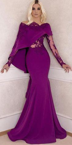 27eed8d681ea  124.19  Romantic Satin Off-the-shoulder Neckline Long Sleeves Mermaid  Evening Dress With Beaded Lace Appliques. Abiti Di RasoAbiti Da ...