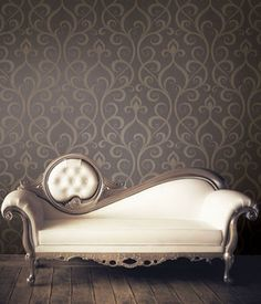 Vintage Couch - matches the wallpaper perfectly!...Love the uniqueness of the design